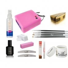 Kit unghii false cu lampa uv si gel uv Soak Off 3 in 1