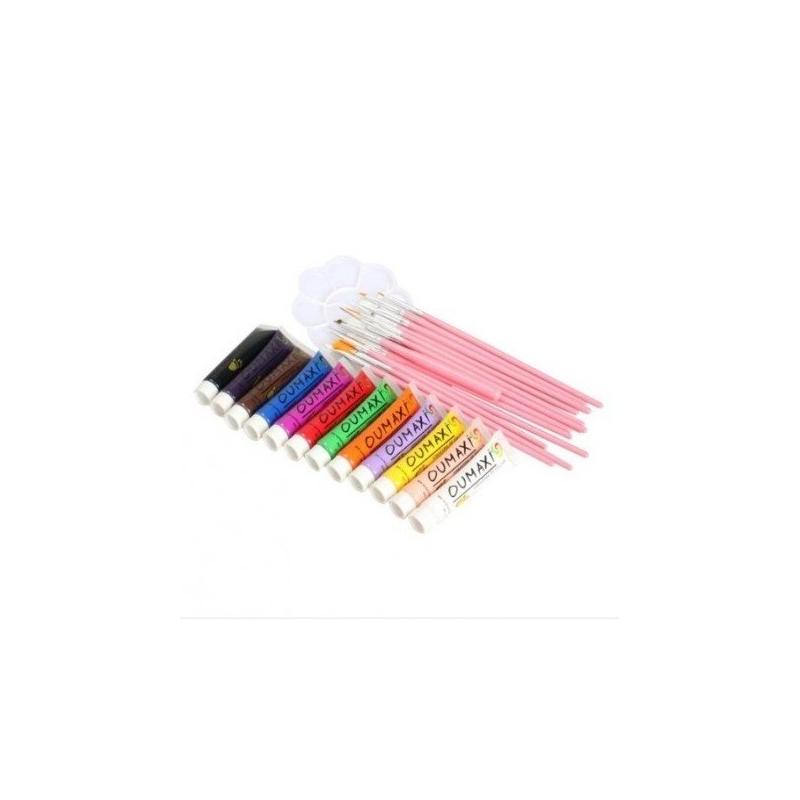 Kit 12 vopsele acrilice oumaxi, 15 pensule, paleta acril