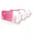 Set 100 manusi roz din nitril cu pudra pentru manichiura Ro.ial - S
