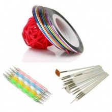 kit 10 benzi decorative, 5 punctatoare, set 15 pensule
