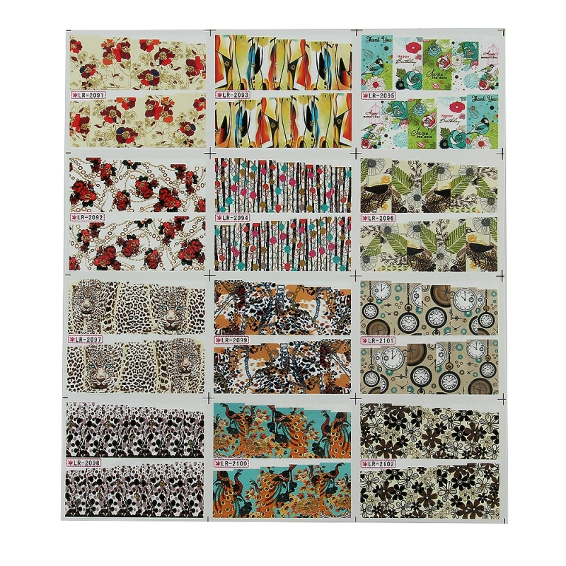 Sticker Unghii 12 In 1 Lila Rossa Animal Print