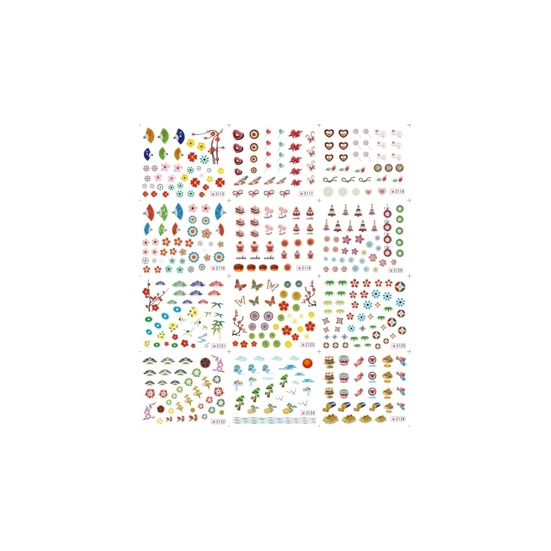 Stickere Unghii 12 In1 cu Evantai