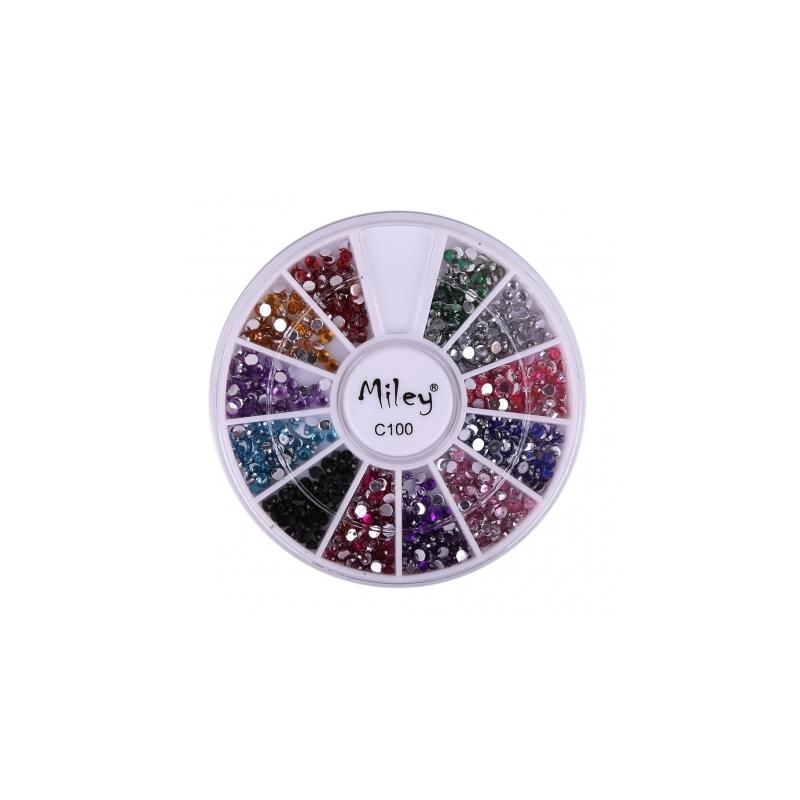 Decor Pentru Unghii Miley 12 Pozitii Strasuri Multicolore