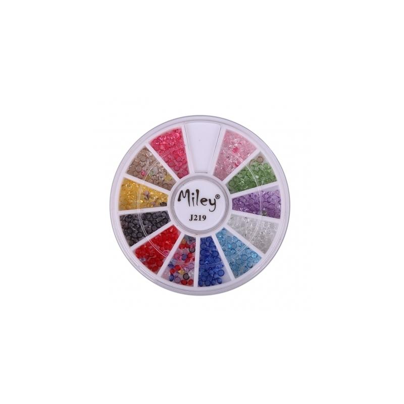 Decor Pentru Unghii Miley 12 Pozitii Cristale Colorate