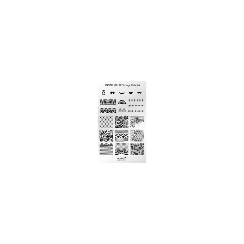 Matrita Dreptunghiulara Pentru Stampile Unghii Konad 26