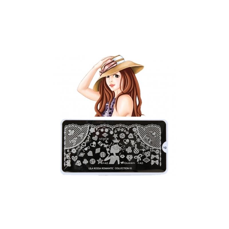 Matrita Metalica Pentru Stampile Unghii Lila Rossa - Romantic Collection 0110