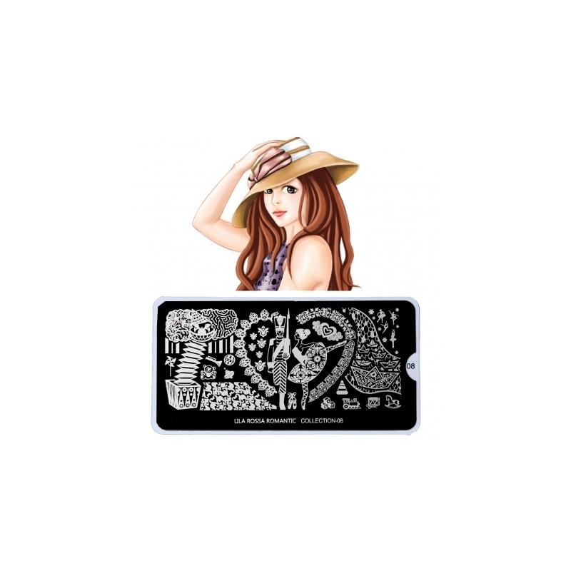 Matrita Metalica Pentru Stampile Unghii Lila Rossa - Romantic Collection 0108