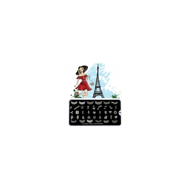 Matrita Metalica Pentru Stampile Unghii Lila Rossa - French Collection 0208
