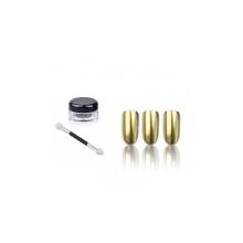 Pigment Pudra Unghii Gold cu Efect de Oglinda si Aplicator