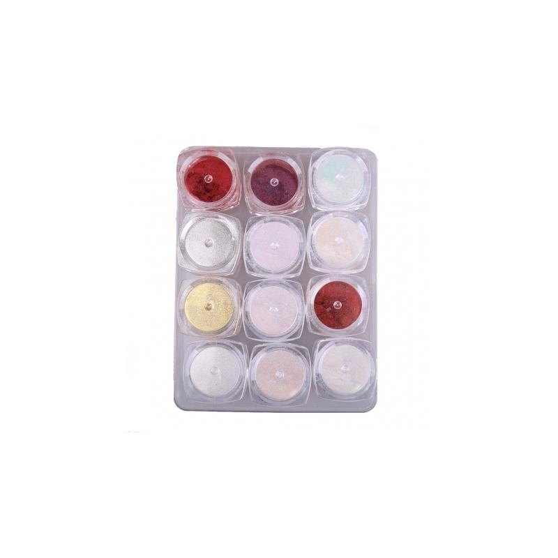Pigment Pudra Unghii cu Efect de Oglinda Lila Rossa Set 12