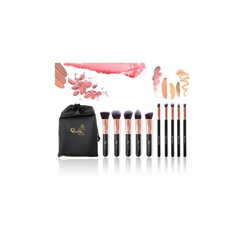 Set 10 Pensule Make-up Nylon cu Husa Diverse Culori