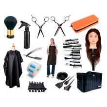 Set kit frizerie coafor Belle cu geanta echipata, cap practica manechin si foarfeci tuns filat