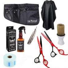 Set kit frizerie complet cu foarfeci tuns filat pulverizator wisky manta brici Redcuts