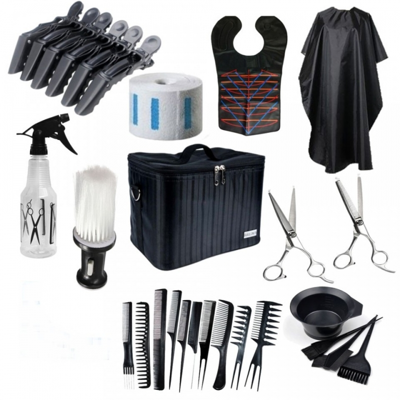 Set kit frizerie coafor foarfeca tuns filat pelerina vopsit piepteni geanta