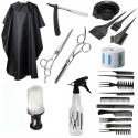 Set accesorii si ustensile frizerie coafor foarfeca tuns filat manta brici piaptan barba Borro