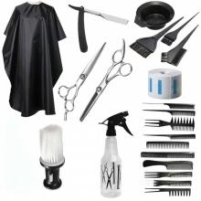 Set accesorii si ustensile frizerie coafor foarfeca tuns filat manta brici