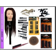Set kit frizerie coafor complet Magic saten sintetic cu clestisori agrafe ace perie tapat