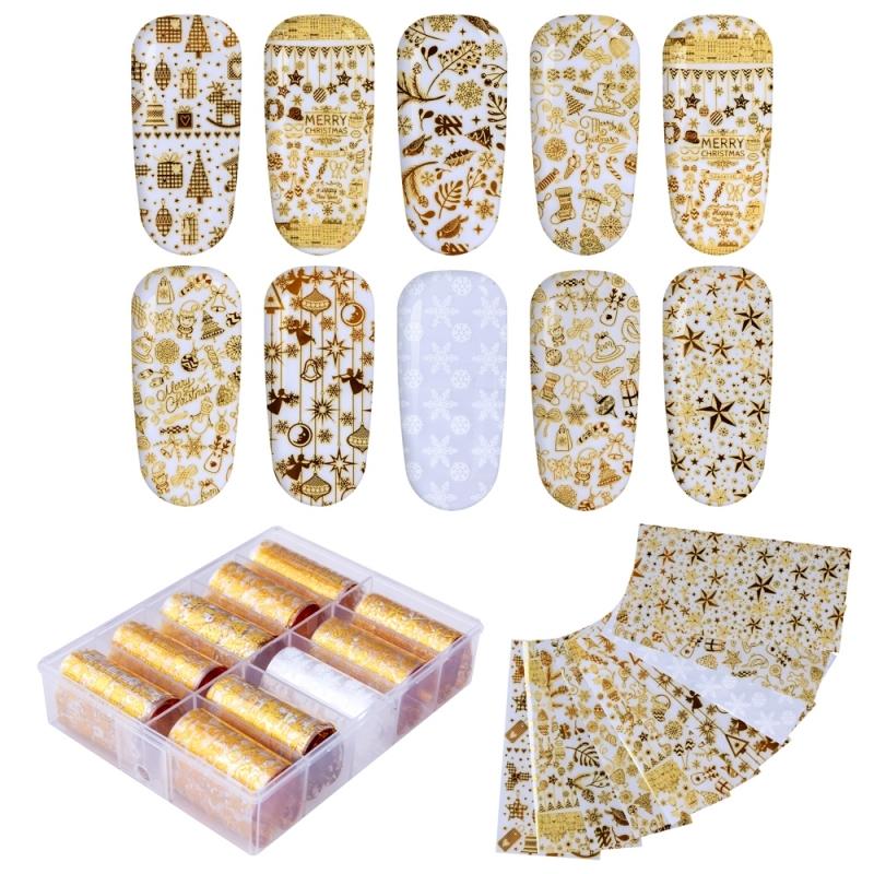 Folie de transfer set 10 Gold Christmas Collection 12