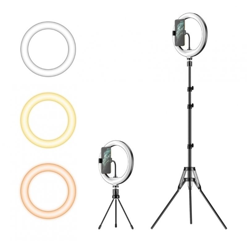 Lampa Circulara Fotografica Inaltime 2.1m + Suport Telefon - Kit Starter Vlogging Premium