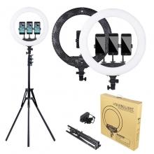 Lampa Circulara LED 35cm, Lumina Rece/Calda, Ring Light cu Trepied, Geanta si 3 Suporturi Telefon