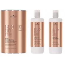 Pachet3 Decolorant Premium 9+ 450g, Oxidant 2% si 6% 1000 ml Schwarzkopf Professional BlondMe