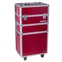 Troller Cosmetica Aluminiu Mare 3 Piese - Rosu
