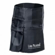 Sort pentru coafor si frizerie Lila Rossa, din piele ecologica, impermeabil, cu buzunar, cu snur reglabil, negru, A258 M