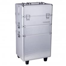 Troller Cosmetica Aluminiu Mare 3 Piese - Silver