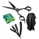 Set kit frizerie coafor Jona,foarfeca,manta si brici