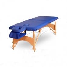 Pat masaj 2 sectiuni, structura din lemn - Albastru
