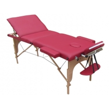 Pat masaj 3 sectiuni, structura din lemn - BURGUNDY