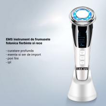 Aparat Facial Lila Care EMS Masaj Facial Cald si Rece Anti-Imbatranire, Anti-Rid Alb 103 Vibratie Sonica de 8000RPM Alb-Negru