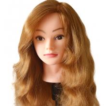 Cap Manechin pentru Vopsit cu Par Blond Auriu Natural 100%, 40-45cm + Suport Prindere