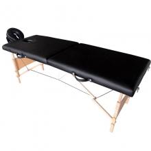 Pat masaj 2 sectiuni, structura din lemn - NEGRU