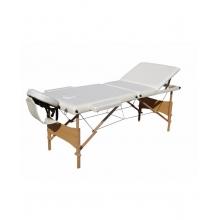 Pat masaj 3 sectiuni, structura din lemn - ALB
